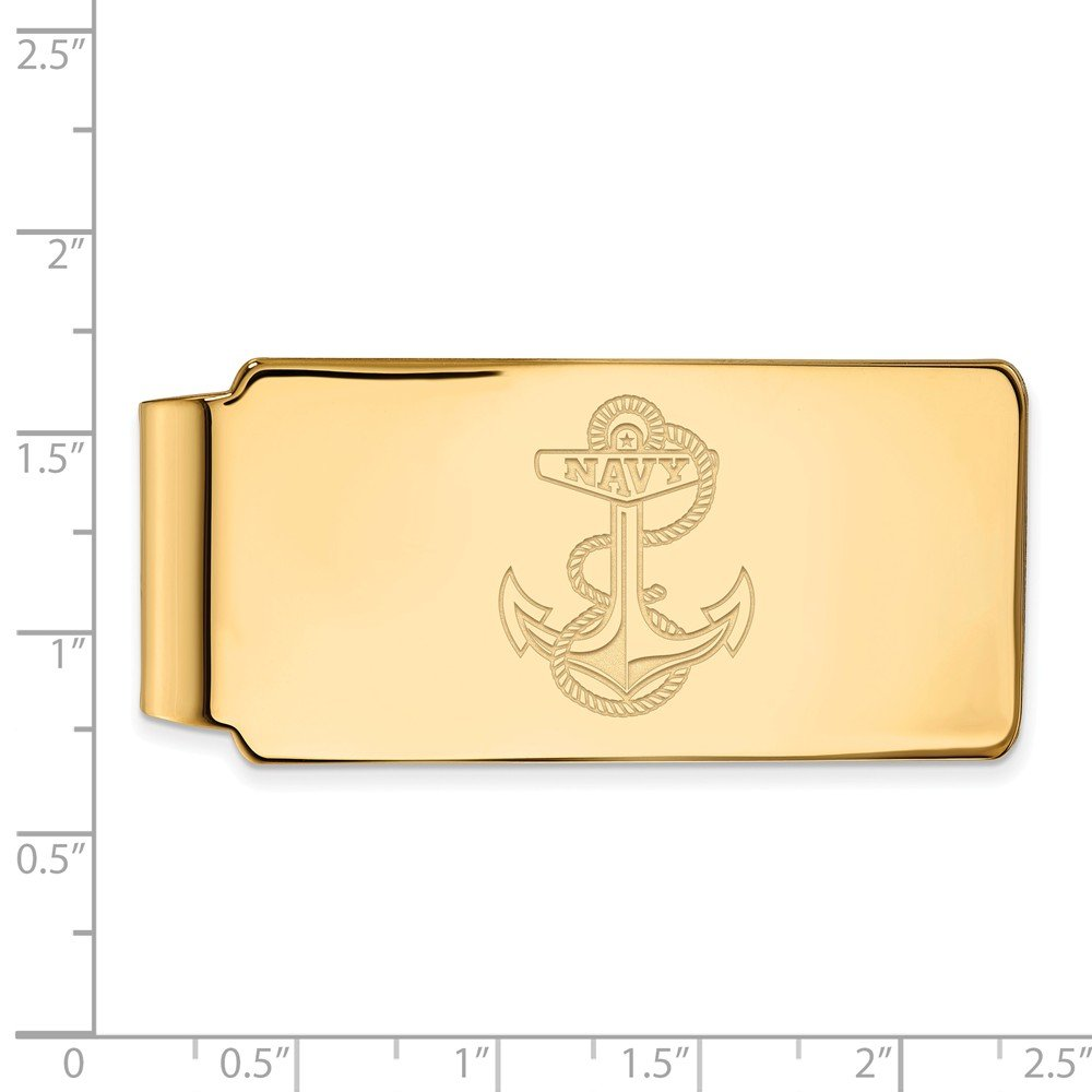 Jewel Tie 925 Sterling Silver with Gold-Toned Navy Money Clip 55mm x 26mm