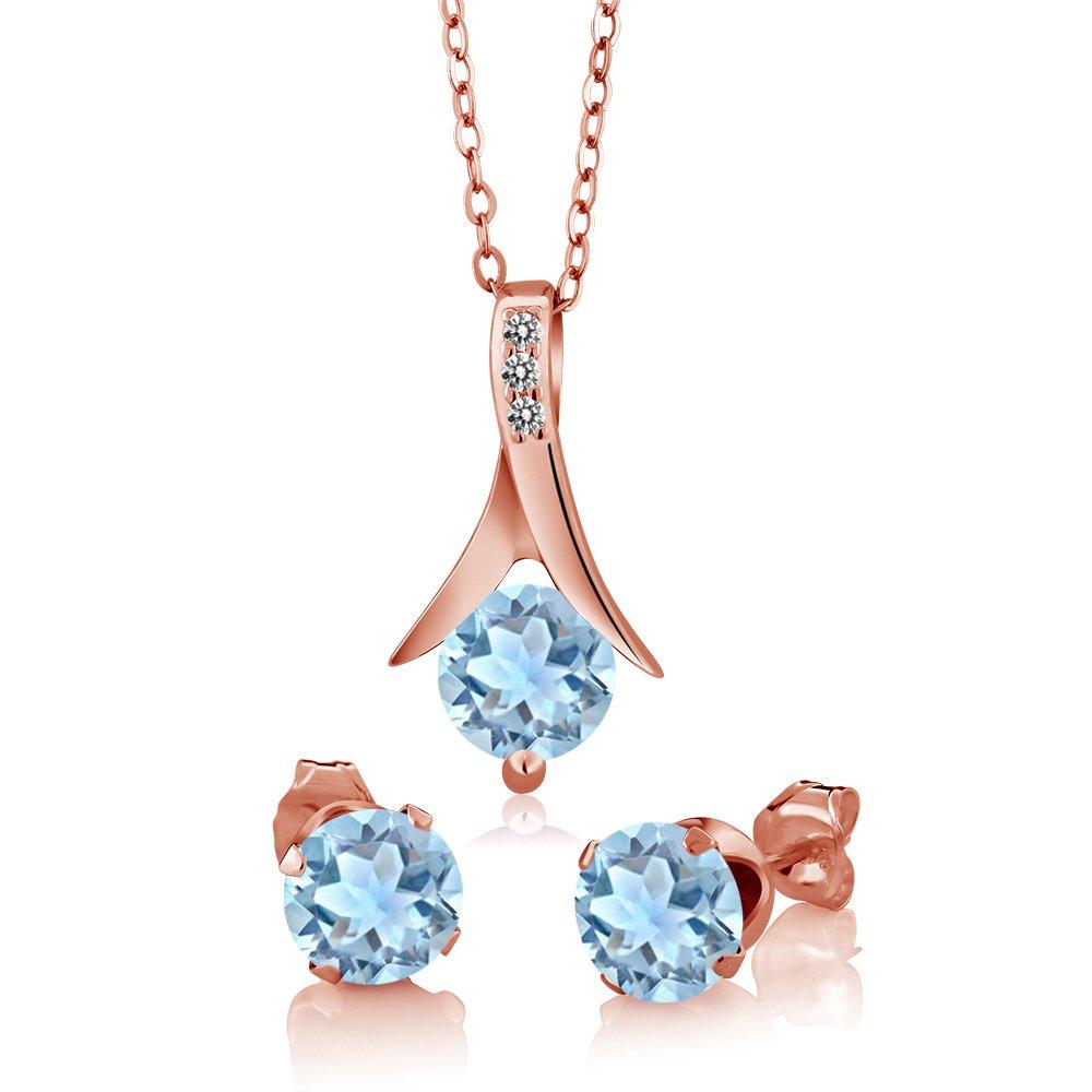 2.30Ct Sky Blue Aquamarine White Diamond 18K Rose Gold Plated Silver Jewelry Set