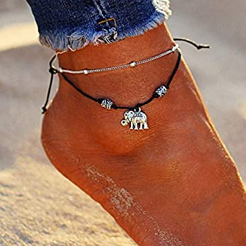 Retro Punk Sun Flower Elephant Dangle Double Layer Silver Chain Jewelry Anklets