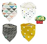 Baby Bandana Drool Bibs, Unisex 4 Pack Cute Bibs with Snaps - Best for Babies Drooling, Teething and Feeding - Soft Cotton, Bamboo & Waterproof Fleece. Perfect Baby Shower Gift Set for Boys & Girls