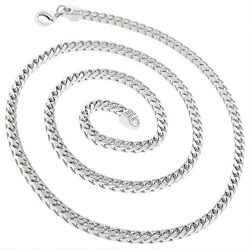 d7e96d90b9d Sterling Silver Italian 3.5mm Solid Franco Square Box Link 925 Rhodium  Necklace Chain 20'