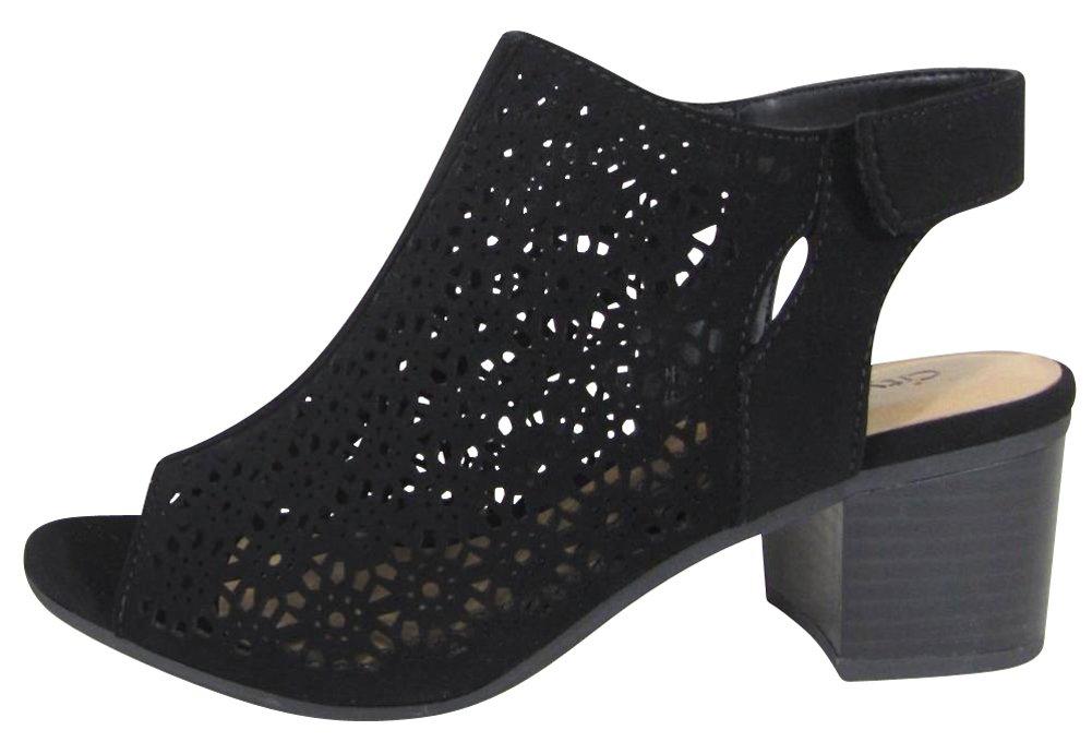 City Classified Footwear Women's Peep Toe Geometric Laser Cut Out Sling Back Chunky Stacked Heel Ankle Bootie (9 B(M) US, Black NBPU)