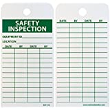 """NMC RPT170 Accident Prevention Tag,""""SAFETY INSPECTION"""", 3"""" Width x 6"""" Height, Unrippable Vinyl, Green on White (Pack of 25)"""