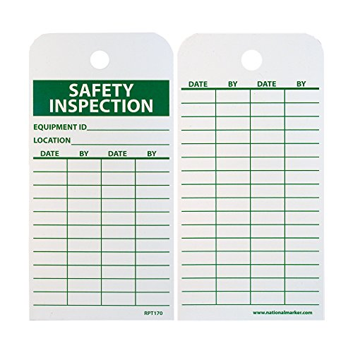 "NMC RPT170 Accident Prevention Tag, ""SAFETY INSPECTION"", 3"" Width x 6"" Height, Unrippable Vinyl, Green on White (Pack of 25)"