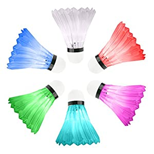 Accmor Colorful LED Shuttlecock Set, 6 Pack Led Badminton Feather Super Bouncy Light Badminton Birdies, Glow In the Dark Shuttlecock for Outdoor/Indoor Sports Activities