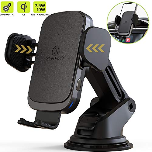 Case Car Charger Phone Holder - ZeeHoo Wireless Car Charger Mount, Auto-Clamp 7.5W/10W Qi Fast Charging, Air Vent Wireless Charger Holder Compatible iPhone Xs/Xs Max/XR/X/8/8 Plus, Samsung Galaxy S10/S10+/S9/S9+/S8/S8+/S7