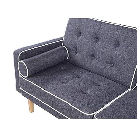 Sofá cama clic-clac, 2 cojines, diseño moderno, acabado gris ...