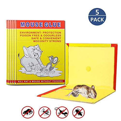 5 PACK/Mouse Glue Boards,Sticky Traps for Mice,Large Rat Glue Pads,Extra Sticky Traps with Peanut Butter Large Capture Area,Catch Mouse Indoor and Outdoor