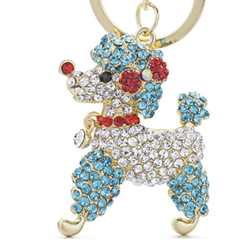 Stock Show 1Pc Lovely Poodle Dog Keychain with Beautiful Bling Diamond Bowknot Engraved Crystal Cartoon Animal Keychains Keyrings for Girl Women Alloy Purse Bag Key Chain Ring Holder Gift, Blue