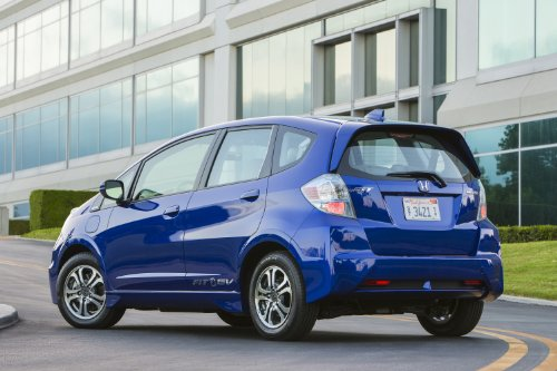 "Honda Fit eV (2013) Car Art Poster Print on 10 mil Archival Satin Paper Blue Rear Side View 36""x24"""