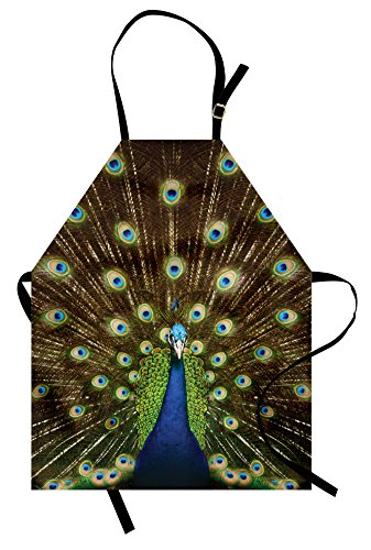 Kitchen Colours Garden - Ambesonne Peacock Apron, Portrait of Peacock with Feathers Out Vibrant Colors Birds Summer Garden Unisex Kitchen Bib Apron with Adjustable Neck for Cooking Baking Gardening, Navy Green