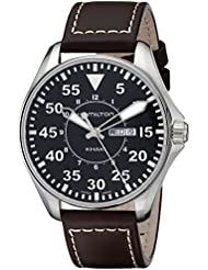Hamilton Mens H64611535 Khaki King Pilot Black Watch with Brown Leather Band