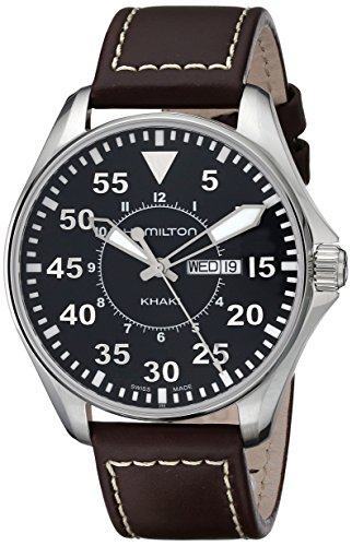 - Hamilton Men's H64611535 Khaki King Pilot Black Watch with Brown Leather Band
