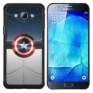 América Super Héroe Sheild- Metal de aluminio y de plástico duro Caja del teléfono - Negro - Samsung Galaxy A8 / SM-A800