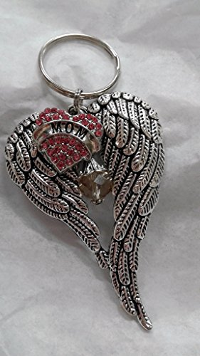 Angel Wing Mom Memorial Keyring In Memory Gift w/ Pink Rhinestone Heart & Crystal Charm