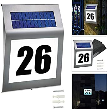 DE Solar Hausnummer Hausnummernleuchte Beleuchtet Beleuchtung Edelstahl mit LED