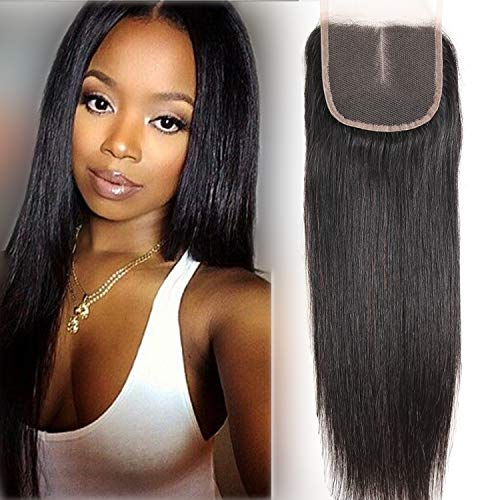 Fastyle Hair Brazilian Lace Closure Straight Human Hair 100% Unprocessed Virgin Hair Can Be Dyed Middle Part Top Lace Closure Natural Color (12 Inch Closure) ... from Fastyle Hair