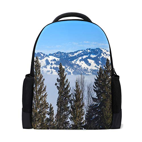 Backpack Swiss Alps Scenery Personalized Shoulders Bag Classic Lightweight Daypack for Men/Women/Students School