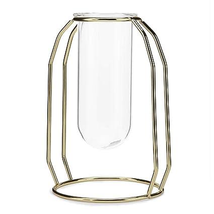 Ornaments Bottles, Jars & Boxes Simple Creative Transparent Tube Glass Metal Flower Rack Art Vase Frame Set Plant Flowerpot Home Wedding Accessories Decor Complete In Specifications