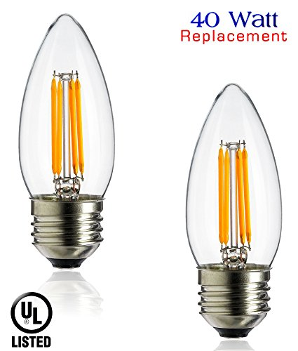 Luxrite LR21207 (2-Pack) LED Filament Medium Base Torpedo Tip Chandelier Light Bulb, 4-Watt Equivalent To 40w Incandescent Chandelier Bulb, Warm White 350 Lumens 2700K, 260° Beam spread degree, 15,000 Hour - Bulb Watt Torpedo