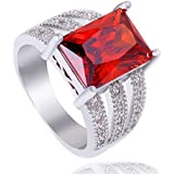 Silver Plated Red Cubic Zirconia Fashion Woman Engagement Ring Size 7 8 9 10 (9)