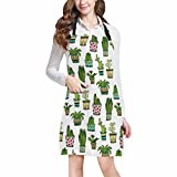 InterestPrint Colorful Doodle Flowers Watercolor Succulent and Cactus Home Kitchen Apron for Women Men with Pockets, Unisex Adjustable Bib Apron for Cooking Baking Gardening, Large Size