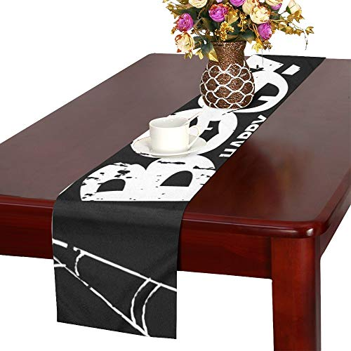 Happy Halloween Design Elements Boo Table Runner, Kitchen Dining Table Runner 16 X 72 Inch for Dinner Parties, Events, Decor ()