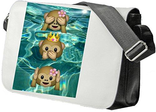"""Schultertasche """"Drei Affen mit Blume Krone und Rose im Wasser Nichts Böses Sehen Sagen Hören"""" Schultasche, Sidebag, Handtasche, Sporttasche, Fitness, Rucksack, Emoji, Smiley"""