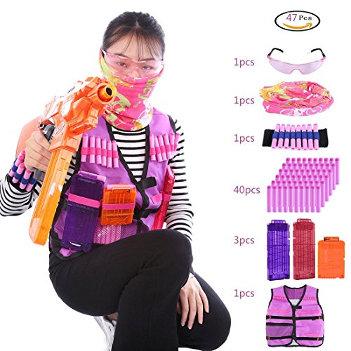PeleusTech® Tactical Vest Kit, Girls Tactical Vest for Nerf with 40 Refill Darts + 2pcs 12-Dart Magazine Clips +1pcs 6-Dart Magazine Clips + Face Cover + Goggles + Wristband (Type A)