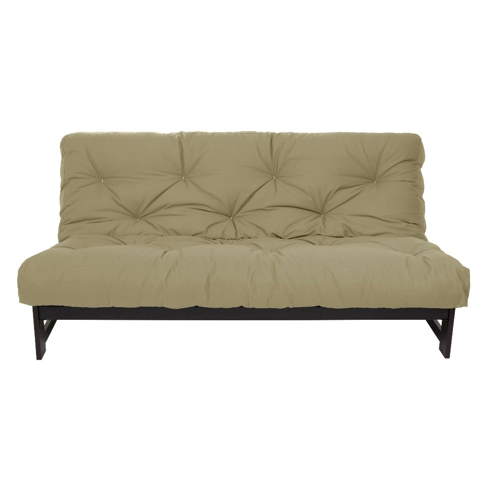 Mozaic Full Size 6-inch Cotton Twill Futon Mattress, Khaki