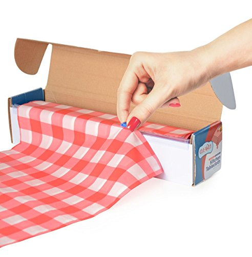 Red Gingham Picnic / Party Plastic Tablecloth Roll, Disposable Picnic colored Table cloth On a Roll With Self Cutter Box,Cut Tablecloth To Your Own Table Size,Indoor/Outdoor, By Clearly Elegant -