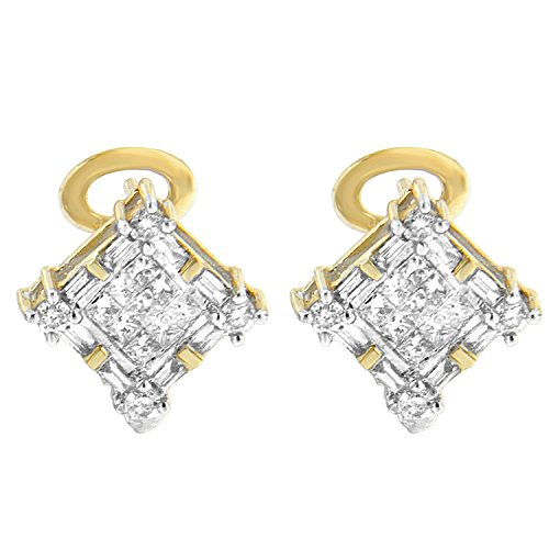 14K Yellow Gold Round, Baguette and Princess-Cut Diamond Earrings (1.00 cttw, H-I Color, SI1-SI2 Clarity)