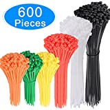 AUSTOR 600 Pieces Colored Zip Ties Nylon Cable Zip Ties in 4 6 8 10 Inches Tie Wraps Orange, Yellow, Green, Red, White and Black