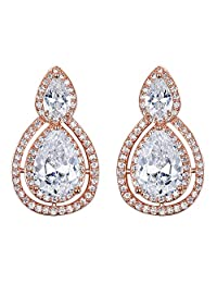 BriLove Women's Fashion Elegant Crystal Teardrop Hollow Out Infinity Clip-On Dangle Earrings Clear