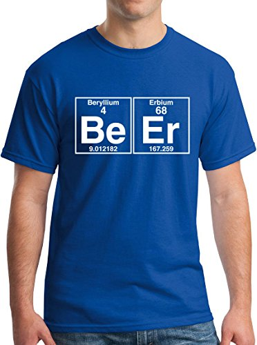 The Element of Beer College Science Periodic Table Funny Drinking T-Shirt white blue-XL