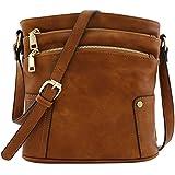 Triple Zip Pocket Medium Crossbody Bag (Dark Tan)