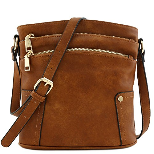 - Triple Zip Pocket Medium Crossbody Bag (Dark Tan)