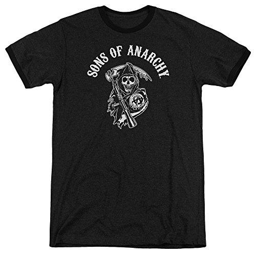 Sons Of Anarchy Mens Soa Reaper Ringer T-Shirt, Large, Black (Reaper Ringer T-shirt)