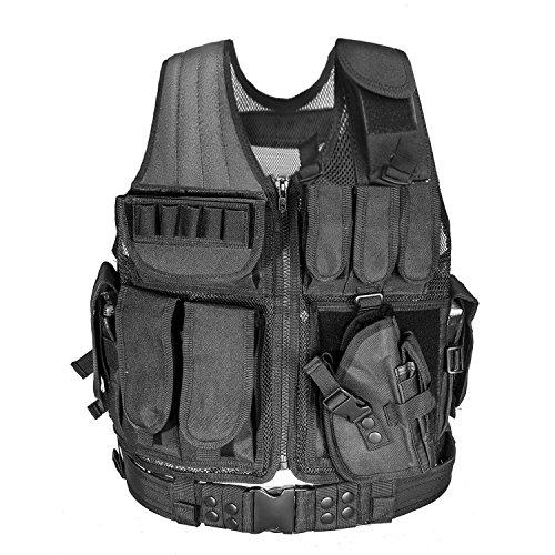 Fairbridge-Tactical-Molle-Vest-Airsoft-Paintball-Vest-Assault-Swat-Vest-Adjustable-Lightweight-Adjustable-Hunting-Molle-Style-Tactical-Vest-with-9-Pouches-BLACK