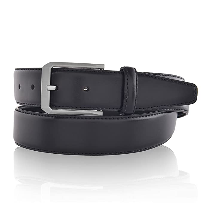 Men s Classic Dress Leather Belt for Suit Business Style Black at ... 850a742ebe