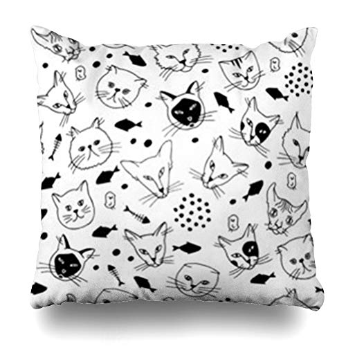ArtsDecor Throw Pillow Covers Doodle Patterncat Breeds Sphynxabyssinianbritishmaine Black Home Decor Cushion Square Size 16