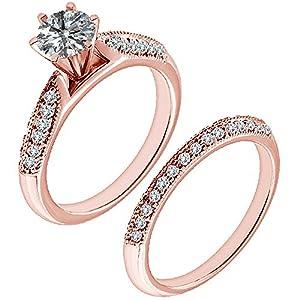 1.29 Carat G-H I2-I3 Diamond Engagement Wedding Anniversary Halo Bridal Ring Set 14K Rose Gold