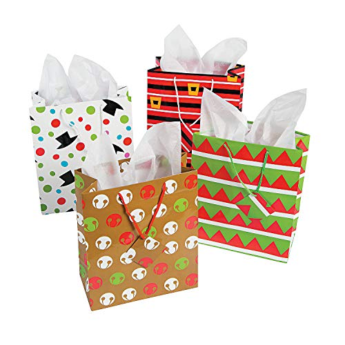 Fun Express - Med Cheery Christmas Gift Bag (dz) for Christmas - Party Supplies - Bags - Paper Gift W & Handles - Christmas - 12 Pieces]()