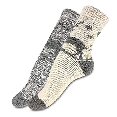 2 Pairs of Womens Wool Socks, Knit Wear for Winter, Soft and Comfortable at Amazon Women's Clothing store