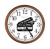 New Espresso / Cappuccino Finish Round Wall Hanging Clock featuring Admit One Movie Tickets Themed Logo