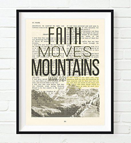 Faith Moves Mountains - Mark 11:23 Christian UNFRAMED reproduction Art PRINT, Vintage Bible verse scripture wall & home decor poster, Inspirational gift, 5x7 inches