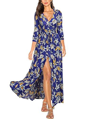 Miusol Women's Flare Floral 2/3 Sleeve Summer Party Long Dress,Blue,Medium