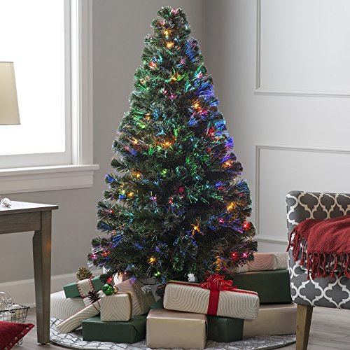 Wideskall 7 Feet Slim Prelit Pre-Light Multi-Color Fiber LED Artificial Christmas Pine Tree, Green (Tree Christmas 2ft Fibre Optic)