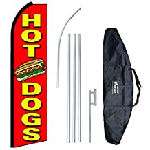 """Hot Dogs (Extra Wide)"" 12-foot Swooper Feather Flag and Case Complete Set...includes 12-foot Flag, 15-foot Pole, Ground Spike, and Carrying/Storage Case"