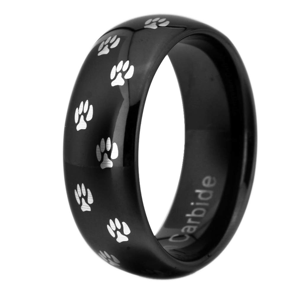 Comfort Fit Cloud Dancer Tungsten Carbide Wedding Ring 8mm Silver//Black//Blue Dome Dog Paw Print Design